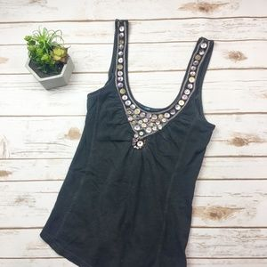 Free People dark grey sequin neckline tank top